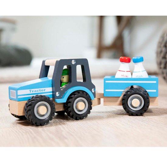 New Classic Toys Houten Tractor met Aanhanger - Blauw - New Classic Toys
