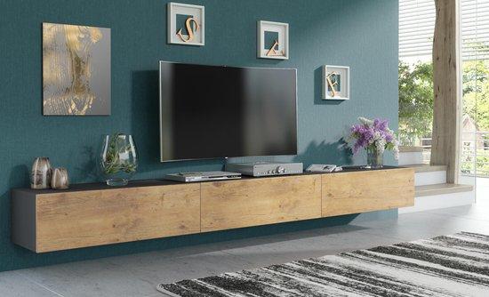 Pro-meubels - Zwevend Tv-meubel - Tv kast - Tunis - Antraciet-Eiken - 300cm 3x100cm