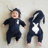 Budino Baby Romper Pyjama Onesie Konijn Dier - Blauw - 6 mnd