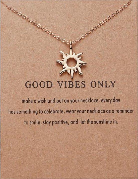 Good Vibes Only Ketting - Zon hanger aan ketting - Geluksketting
