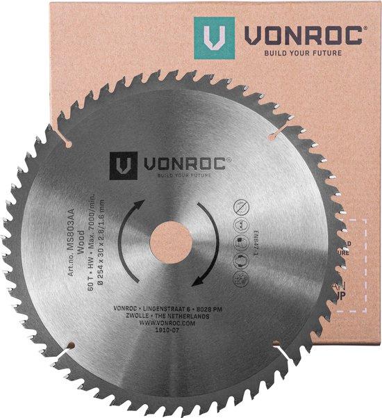 VONROC Zaagblad – Ø254MM – 60 tanden – voor hout – geschikt voor afkortzagen & tafelzagen