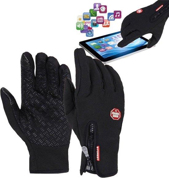Fietshandschoenen Winter Met Touch Tip Gloves - Anti-Slip - Touchscreen Sport Handschoenen - Dames / Heren - Zwart - Small