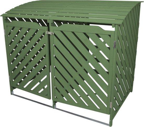 Containerberging - Dubbel - Groen - Hout - 2 x 240L containers - 198x81x120 cm - vergrendelbaar - kliko ombouw