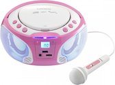 Lenco SCD-650 - Radio CD-speler Incl. karaokemicrofoon en LED - Roze