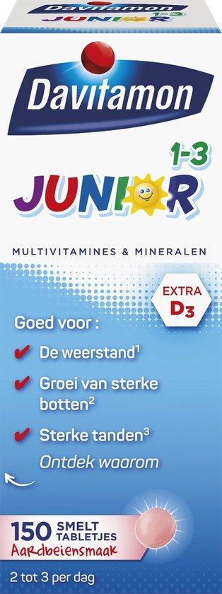 Davitamon Junior vitaminen 1-3 jaar - 150 smelttabletjes - Aardbeiensmaak