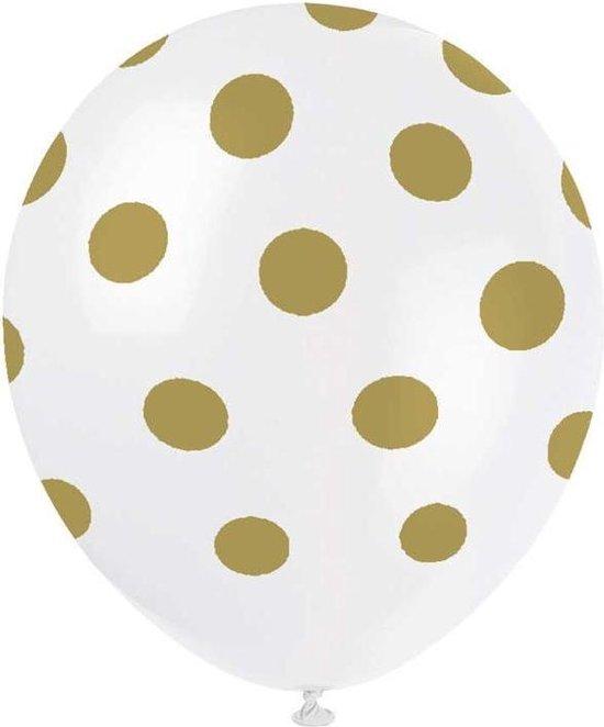 Haza Original Ballonnen Gestippeld Wit/goud 30 Cm 6 Stuks