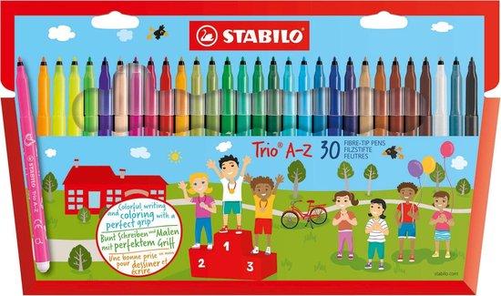 Afbeelding van STABILO Trio A-Z - Viltstift - Met Ergonomische Driekantige Gripzone - Etui Met 30 kleuren