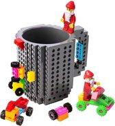 Lego Mok/ Build on Brick Mug - grijs - 350 ml - bouw je eigen mok met bouwsteentjes - BPA vrije drinkbeker cadeau voor kinderen of volwassenen - koffie thee limonade of andere dranken - pennenbeker - creatief accessoire voor op bureau -HnD