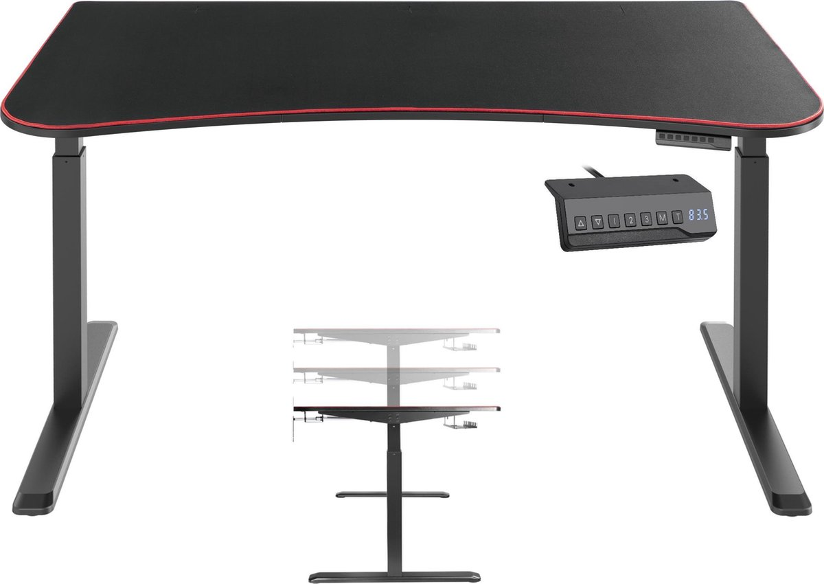Computer game bureau gaming desk Thomas zit sta elektrisch in hoogte verstelbaar 160 cm