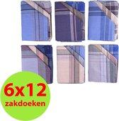Zakdoeken heren - 100% katoen - 40x40 cm. - VOORDEELVERPAKKING mix (6x12) 72 stuks - ideaal als geschenk - verpakt per 12