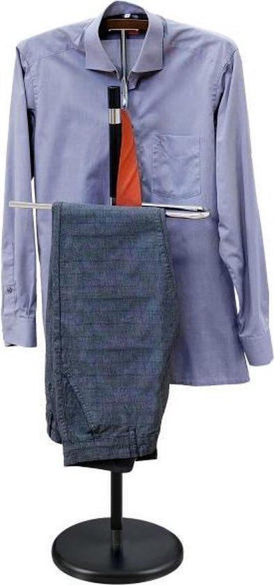 Luxe Dressboy Kleding Standaard - Staande Valet Kledingstandaard Met Jas Houder Broeklat & Stropdas Clips - Verchroomd Staal Met Hout -117cm - Kleerstaander - CLASSY