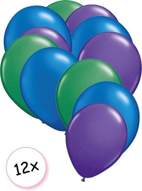 Ballonnen Groen, Blauw & paars 12 stuks 27 cm
