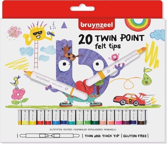 Afbeelding van Bruynzeel Kids 20 viltstiften - dubbele punt