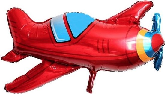 Folie ballon Rood vliegtuig (31029)