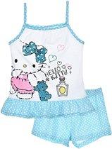"""Hello Kitty - 2-delige Topje-set - Model """"Ready For Bed"""" - Blauw & Wit - 116 cm - 6 jaar"""