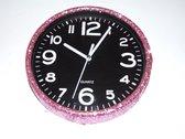 Glitter klok Roze/Zwart 30 cm