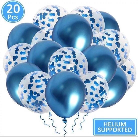 Luxe confetti ballonnen|metallic blauw|20 stuks|Helium ballonnenset