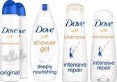Dove Shower & Care Geschenkset - Deodorant antitranspirant, Douchegel, Shampoo en Conditioner - Voordeelverpakking