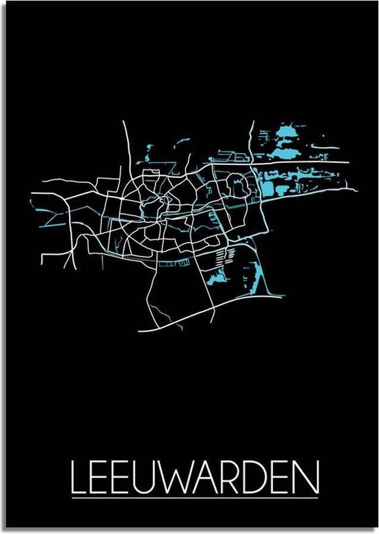 Plattegrond Leeuwarden Stadskaart poster DesignClaud - Zwart - A3 + fotolijst wit