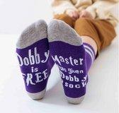 Harry Potter sokken met tekst - Dobby is Free - Paars