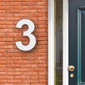 Huisnummer Acryl wit, cijfer 3 Hoogte 16cm - Huisnummers - Huisnummer wit - Huisnummer modern - Gratis verzending!