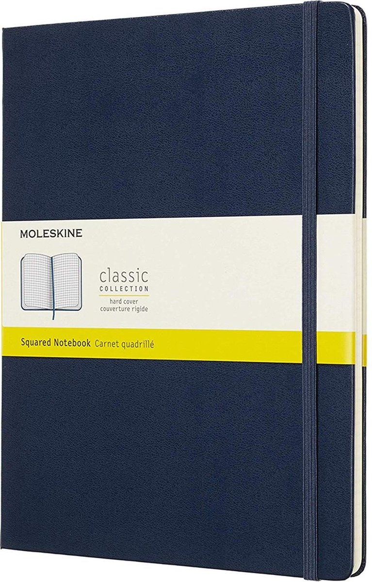 Moleskine Classic Notitieboek Hard Cover - XL - Donkerblauw - Ruiten