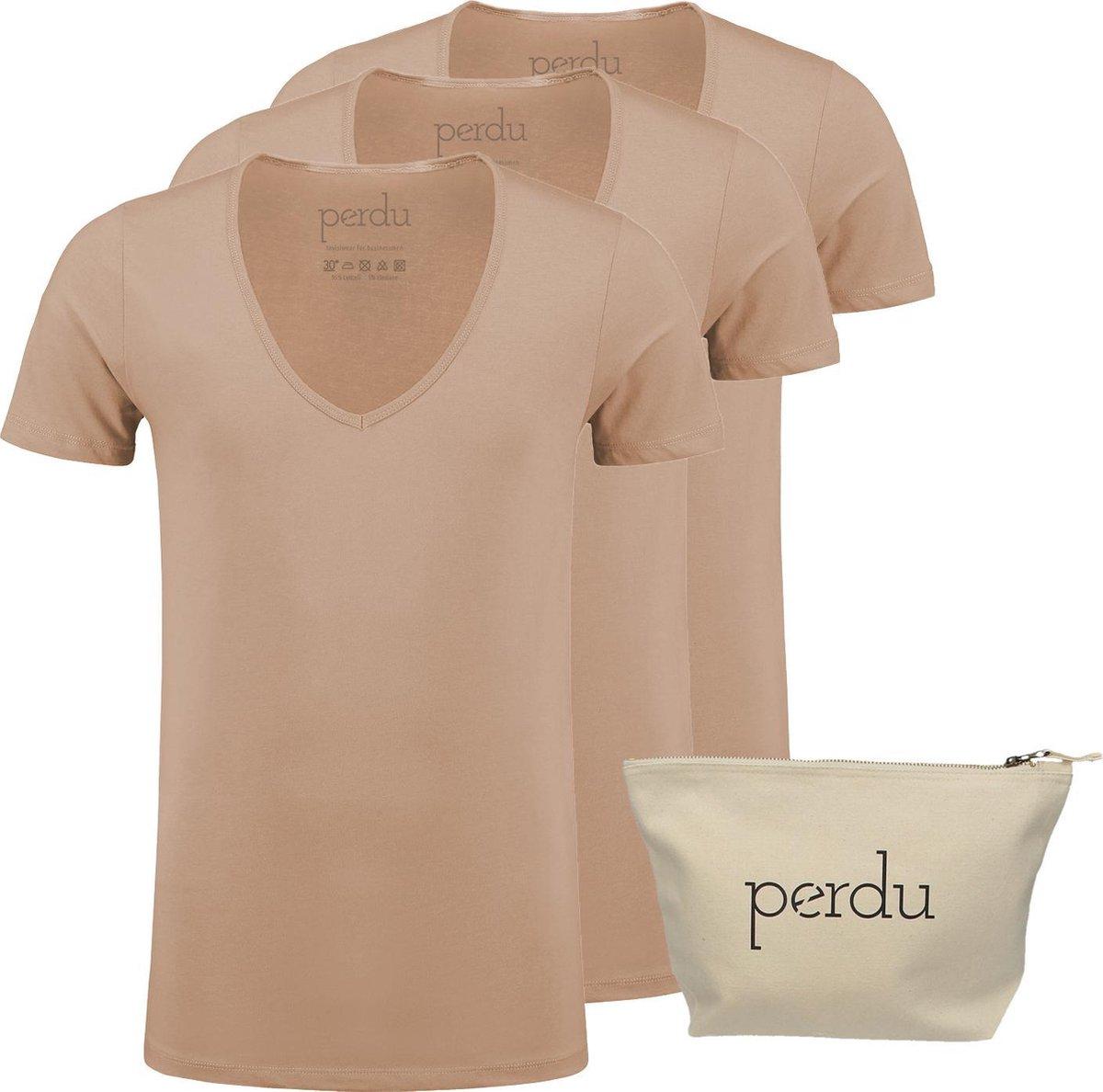 perdu | 3 x Onzichtbaar onderhemd heren + toiletbag | giftpack | Diepe V hals | beige | XL