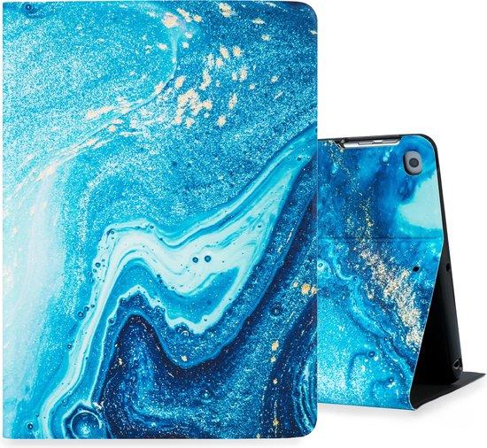 Hoppacase iPad Hoes - Voor de Apple iPad 10.2 inch (2019) A2197, A2198, A2200 - Marmer Blauw  – Smart Book Case