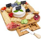 AWEMOZ® Serveerplank Set - Bamboe Hout - Kaasplank & Kaasmessen - Tapasplank
