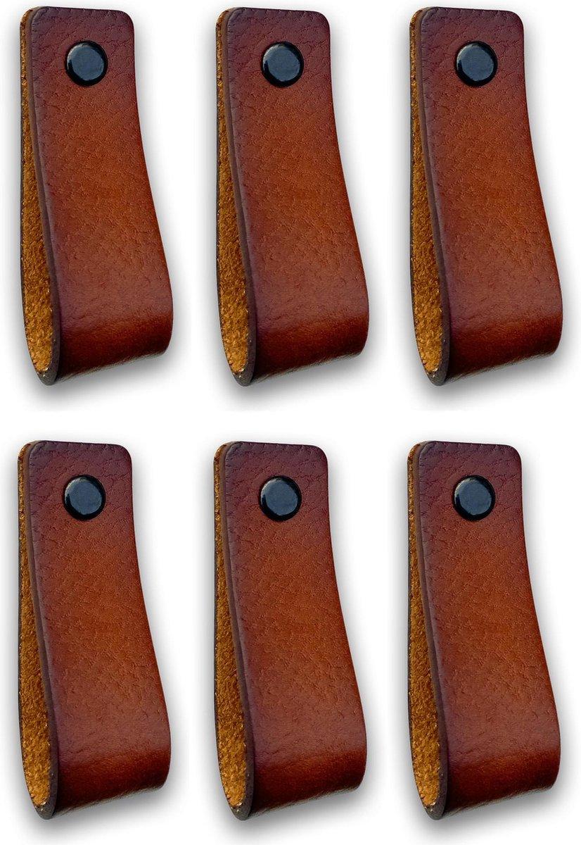 Leren handgrepen - Cognac - 6 stuks - 16,5 x 2,5 cm   incl. 3 kleuren schroeven per leren handgreep