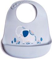 Slabbertje Siliconen baby met Opvangbakje - baby en peuter slabber - verstelbaar en waterdicht - Olifant - Telano