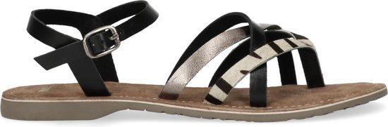 Manfield - Dames - Zwarte sandalen met zebraprint en metallic - Maat 37