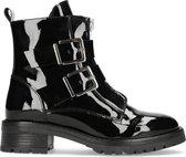 Manfield - Dames - Lak zwarte biker boots met gespen - Maat 40