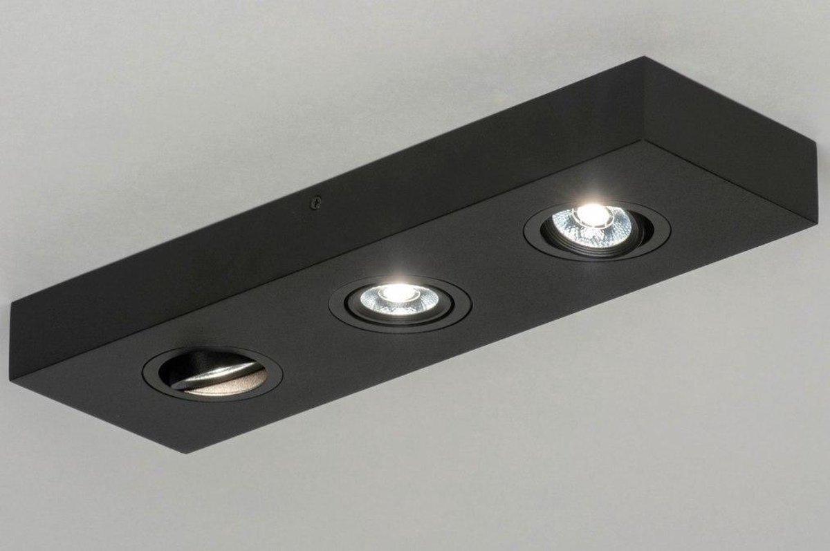 Lumidora Opbouwspot 73302 - 3 Lichts - Ingebouwd LED - 9.0 Watt - 900 Lumen - 2700 Kelvin - Zwart - Metaal - Badkamerlamp