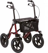 Adhome Opvouwbare rollator outdoor Extra grote banden - rood - Luchtbanden