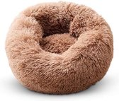 Snoozle Donut Hondenmand - Superzacht en Luxe - Wasbaar - Fluffy - Hondenkussen - 60cm - Dark Coffee