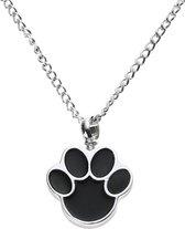 Fonkelnieuw bol.com | Zoëies® as ketting hond zilverkleurig met zwarte hondenpoot ME-85