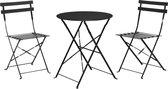 Bistro set zwart 3 stuks - terras meubel - tuin meubel - 2 stoelen 1 tafel - opklapbaar