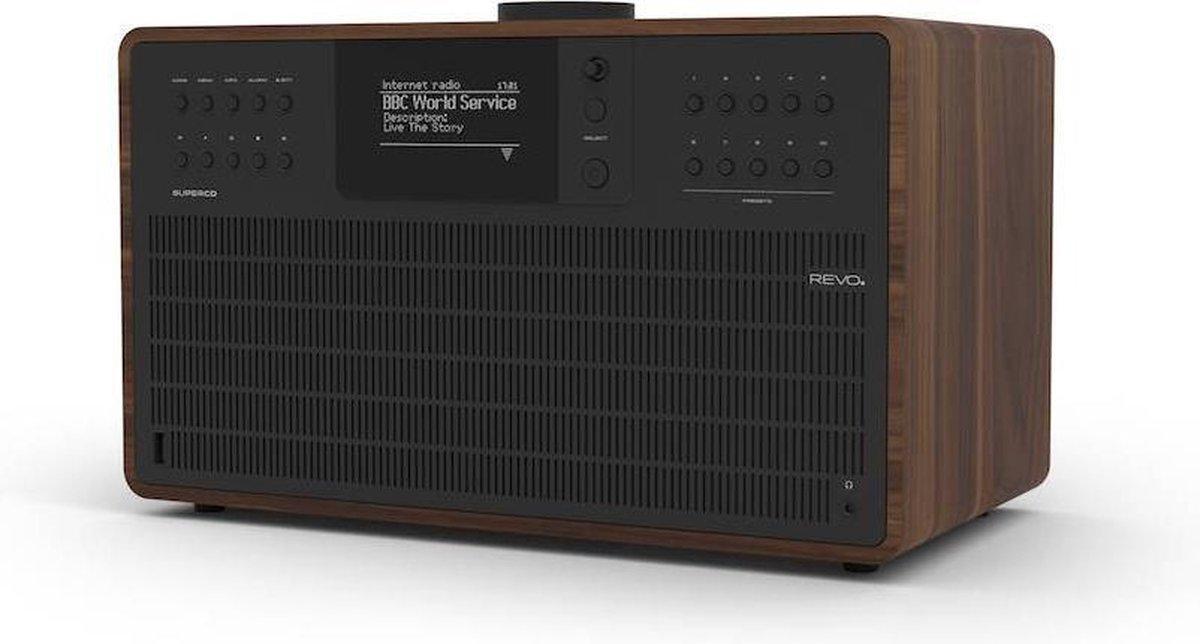 Revo SuperCD - Walnoot/Zwart   CD-speler - Dab Radio - Internetradio - USB - Bluetooth AptX