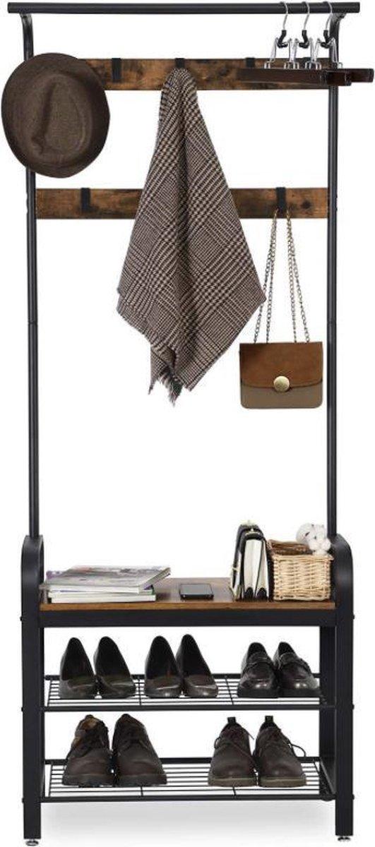 MIRA Home - Kapstok - XL Garderoberek met kapstok - Industrieel - Bruin/zwart - 72x33,7x183