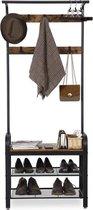 MIRA Home - Kapstok - XL Garderoberek met kapstok - Industrieel - Bruin/zwart - 74x33,7x183