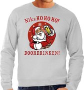 Foute Kersttrui / sweater -  bier drinkende Santa - niks HO HO HO doordrinken - grijs voor heren - kerstkleding / kerst outfit XL (54)