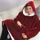 Huggle Hoodie - Plaid met mouwen - Rood