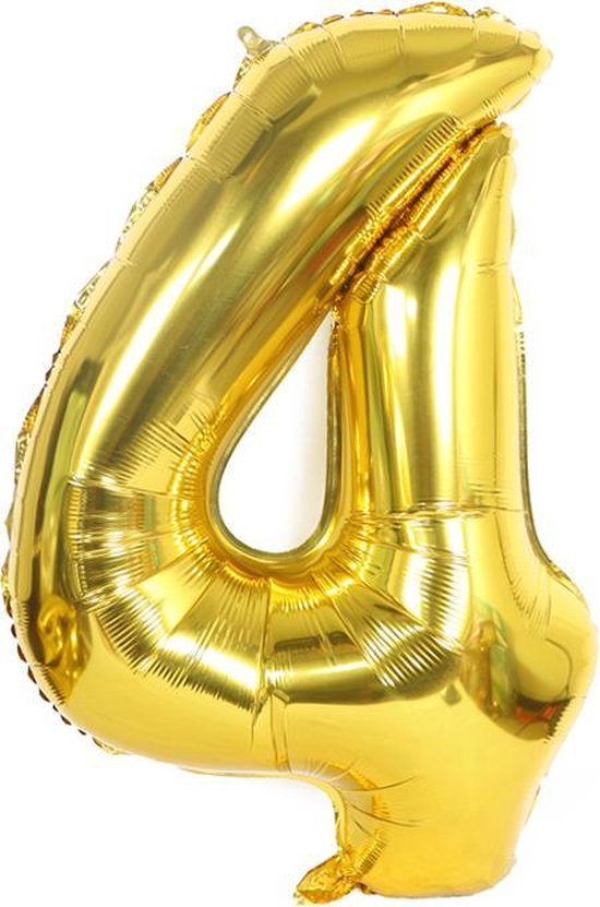 XL cijferballon 100 cm goud nummer 4 | nummerballon | nummer ballon | cijfer ballon