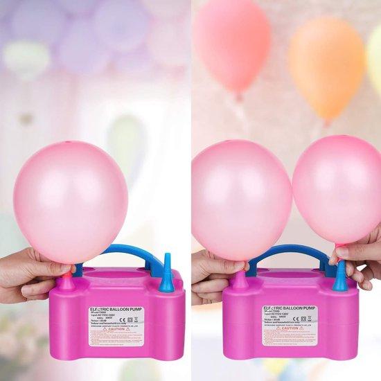 Elektrische Ballonnenpomp met Dubbel Vulfunctie + 300 Dubbelzijdig Ballon Stickers - Draagbare Ballonpomp met Bedienbare en Automatische Opblaastuiten - Snel Ballonnen Opblazen - 600W - Roze en Blauw