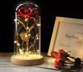 Beauty and the Beast - Rode Roos - Gouden Roos In Glazen Stolp Met LED -  Valentijn, Trouw & Liefde Cadeau - Golden Rose - Enchanted Rose - Roos - Kunstbloem - Kunstroos - Gouden Roos kado – rose bloem