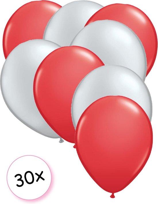 Ballonnen Rood & Zilver 30 stuks 27 cm