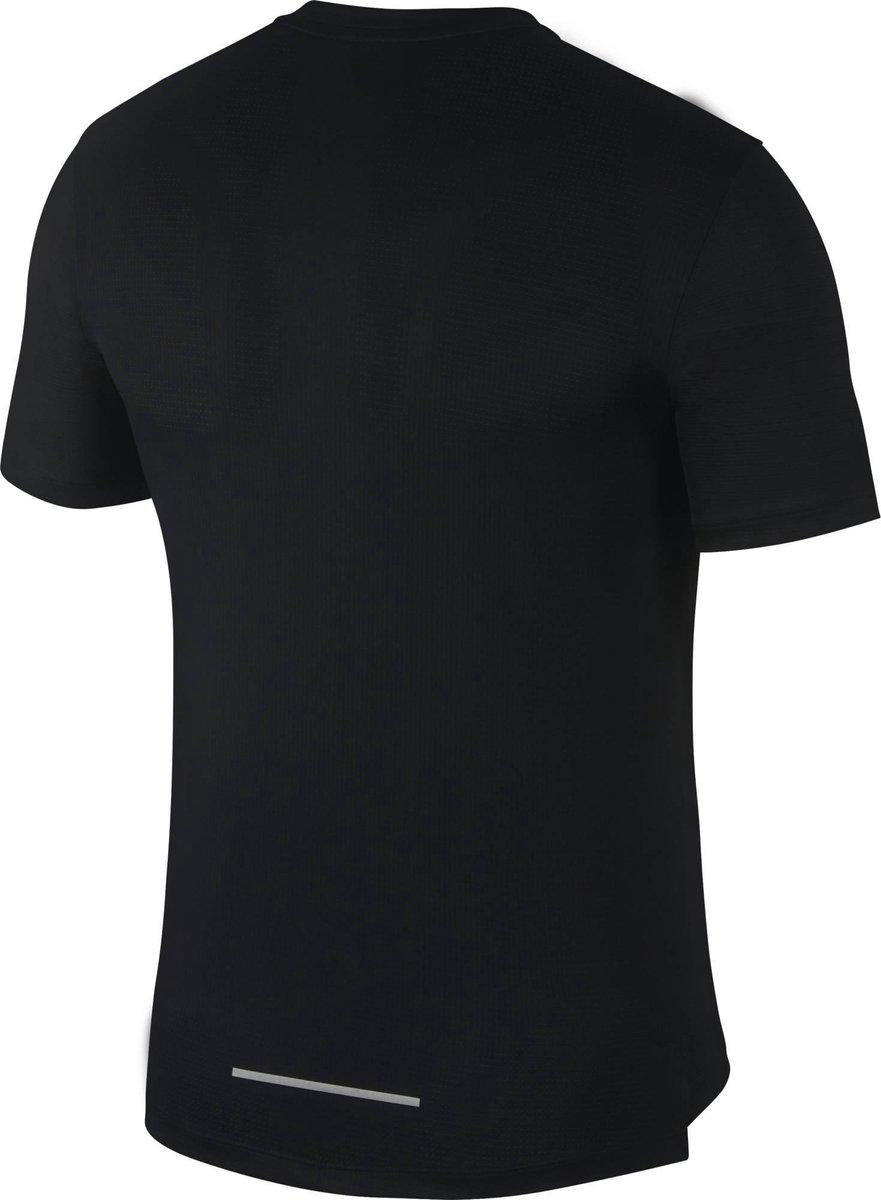Nike M Nk Df Miler Ss Flash Nv Heren Sportshirt BlackReflective Silv Maat M