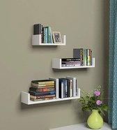Set van 3 Boekenplanken - U-vormige Wandplank - Glanzend Wit