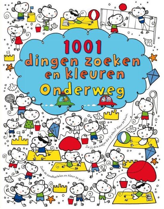 Cover van het boek '1001 dingen zoeken en kleuren onderweg' van Fiona Watt